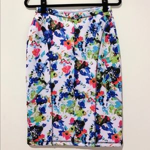 NICOLE by NICOLE MILLER Bright Floral Midi Skirt